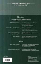 Mexique, l'incertitude démocratique - 4ème de couverture - Format classique