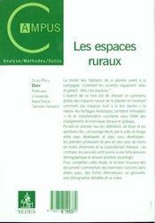 Les Espaces Ruraux. Heritages Et Dynamiques - 4ème de couverture - Format classique