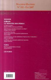 MAGHREB-MACHREK N.192 ; Liban ; la montée des périls - 4ème de couverture - Format classique