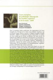 Cours européen de pathologie chirurgical du membre supérieur et de la main 2009 - 4ème de couverture - Format classique