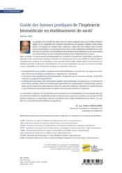 Guide des bonnes pratiques de l'ingénierie biomédicale en établissement de santé (édition 2011) - 4ème de couverture - Format classique