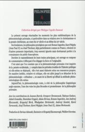 La phénoménologie polonaise et le christianisme - 4ème de couverture - Format classique