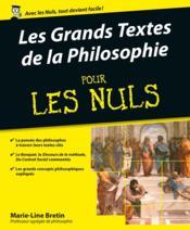 Les grands textes de la philosophie pour les nuls - Couverture - Format classique