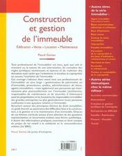 Construction et gestion de l'immeuble. edification, vente, location, maintenance - 1ere ed. - 4ème de couverture - Format classique
