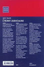 Petit Traite De L'Ecrit Judiciaire - 4ème de couverture - Format classique