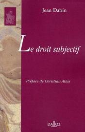 Le droit subjectif - Intérieur - Format classique