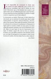 Le droit subjectif - 4ème de couverture - Format classique