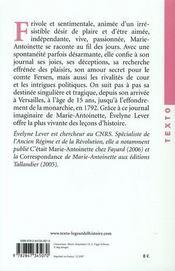 Marie-Antoinette, journal d'une reine - 4ème de couverture - Format classique