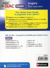 Abc Du Bac ; Réussite Anglais ; Terminale Toutes Séries - 4ème de couverture - Format classique