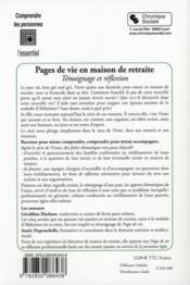 Pages de vie en maison de retraite ; témoignage et réflexion - 4ème de couverture - Format classique