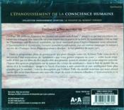 L'épanouissement de la conscience humaine (2 cd livre audio) - 4ème de couverture - Format classique