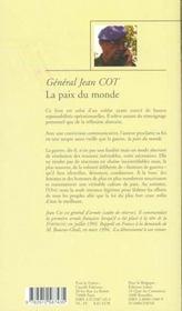 La Paix Du Monde - 4ème de couverture - Format classique