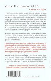 Votre Horoscope ; 2003 L'Annee De L'Espoir - 4ème de couverture - Format classique