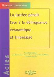 La justice penale face a la delinquance economique et financiere - themes et commentaires - Intérieur - Format classique