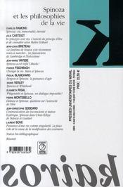 Revue Kairos T.28 ; Spinoza Et Les Philosophies De La Vie - 4ème de couverture - Format classique
