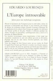 Europe Introuvable : Jalons Pour Une Mythologie Europeenne (L') - 4ème de couverture - Format classique