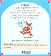 Oscar ne veut pas pendre son bain - 4ème de couverture - Format classique