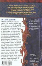 Pierre de tu-hadj 1 (la) - sang d'arion (le) - 4ème de couverture - Format classique