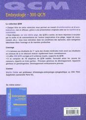 Embryologie ; 300 QCM - 4ème de couverture - Format classique