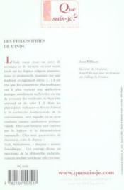 Les philosophies de l'inde (5ed) qsj 932 - Couverture - Format classique