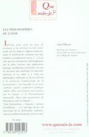 Les philosophies de l'inde (5ed) qsj 932 - 4ème de couverture - Format classique