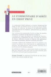 Le commentaire d'arret en droit prive - 7e ed. - methodes et exemples (7e édition) - 4ème de couverture - Format classique