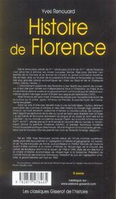 Histoire De Florence - 4ème de couverture - Format classique