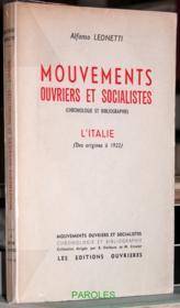 Mouvements ouvriers et socialistes (chronologie et bibliographie) - L'Italie (des origines à 1922). - Couverture - Format classique