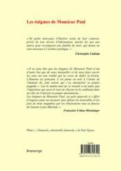 Les énigmes de monsieur Paul - 4ème de couverture - Format classique