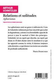Relations et solitudes ; aphorismes - 4ème de couverture - Format classique