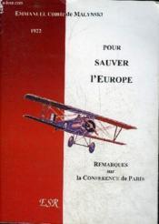 Pour Sauver L'Europe - Couverture - Format classique