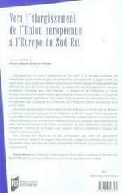 Vers l'élargissement de l'union européenne à l'europe du sud-est - 4ème de couverture - Format classique