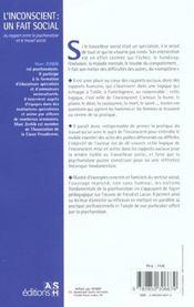 L'Inconscient ; Un Fait Social ; Du Rapport Entre La Psychanalyse Et Le Travail Social - 4ème de couverture - Format classique