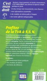 Travaux: Profitez De La Tva A 5.5 - 4ème de couverture - Format classique