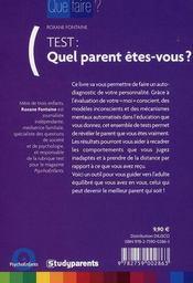Test : quel parents êtes-vous ? - 4ème de couverture - Format classique