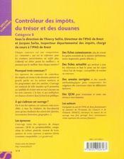Controleur Des Impots, Du Tresor Et Des Douanes - 4ème de couverture - Format classique