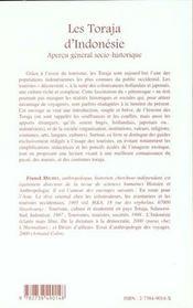 Les Torajas D'Indonesie ; Apercu General Socio-Historique - 4ème de couverture - Format classique