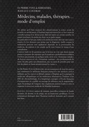 Médecins, malades, thérapies... mode d'emploi - 4ème de couverture - Format classique