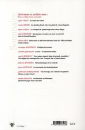 Revue Des Sciences Humaines N.300 ; Littérature Et Architecture ; Lieux Et Objets D'Une Rencontre - 4ème de couverture - Format classique