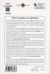 Penser et parler son expérience ; la guidance professionnelle personnalisée ; 78 monographies de parcours - 4ème de couverture - Format classique