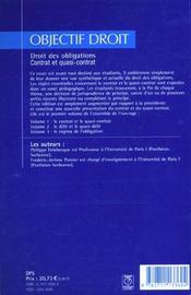 Droit des obligations contrat et quasi-contrat - 4ème de couverture - Format classique