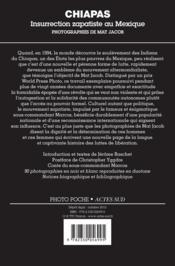 Chiapas ; insurrection zapatiste au Mexique - 4ème de couverture - Format classique