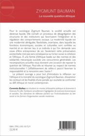 Zygmunt Bauman ; la nouvelle question éthique - 4ème de couverture - Format classique