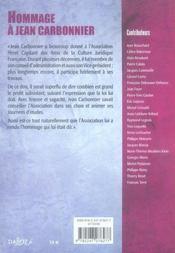 Hommage à Jean Carbonnier - 4ème de couverture - Format classique