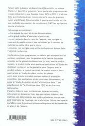 Manuel De Mathematiques Volume 2 Algebre Et Geometrie 1re Annee De Prepas Scientifiques Mp/Si Pc/Si - 4ème de couverture - Format classique