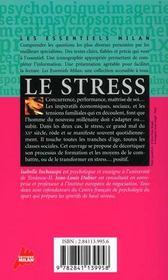 Le Stress - 4ème de couverture - Format classique