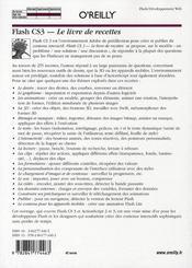 Flash CS3, le livre de recettes - 4ème de couverture - Format classique