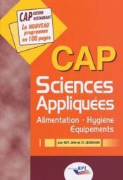 Sciences appliquées ; CAP ; alimentation, hygiène, équipements - Couverture - Format classique