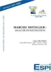 Marché hôtelier ; analyse et estimation - Couverture - Format classique