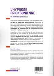 L'hypnose ericksonienne ; un sommeil qui éveille - 4ème de couverture - Format classique